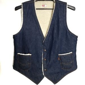 Vintage Levi's Denim Vest With Sherpa Lining -- XL